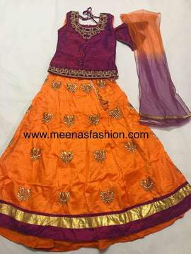 Designer Girl's Lehenga Choli Dress- SilkTop hand work with kundan stone and beads, Silk Lehanga with heavy embroidery