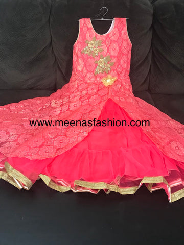 Baby Pink color,  2 top Layer Barbie party wear dresses