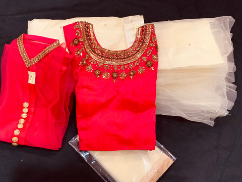 Cheniya Choli- Crop Top lehanga -Pink  color with cream color Lehanga with pink coat and cream Dupatta 4piece suit