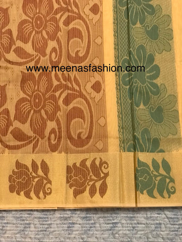 Kuppadam silk sarees- Almond color with Big border