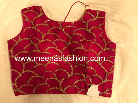 Pink color Netted Designer blouse with embroidery and beads work