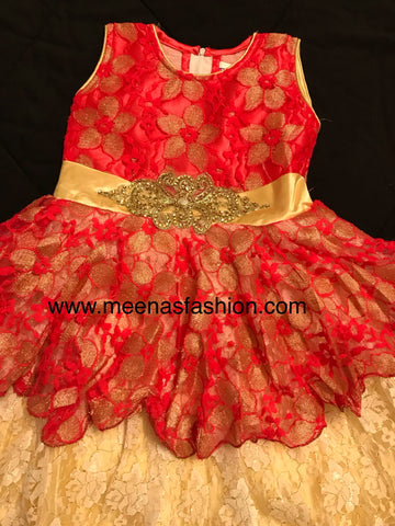 Babygirl's Frock Red color and Gold 2 top Layer