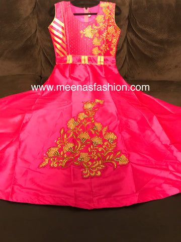 Tapeta Silk Fabric with embroidery stone and kundan work