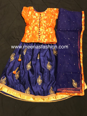 Designer Girl's Lehenga Choli Dress- Blue bottom Silk with embroidery and beads and kundan and Orange Banaras top
