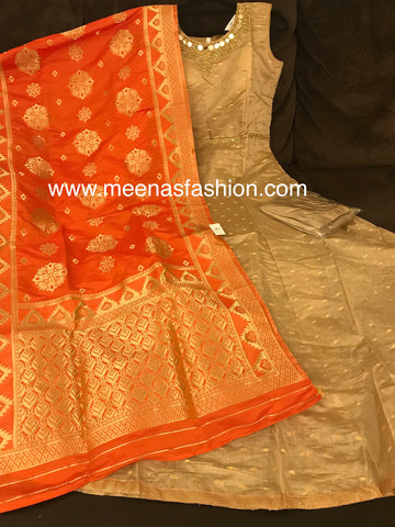 Biscuit color Banaras Butti top, pink color Banaras Dupatta and Lycra Legging