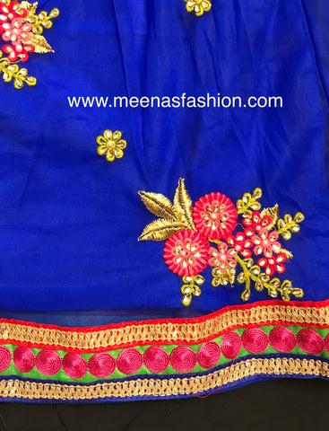 Designer Girl's Lehenga Choli Dress- Spoochi Silk with embroidery and beads work Top with Embroidery Work and FoxGeorgett with heavy embroidery with Kundan and Perl work bottom