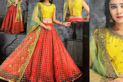 Heavy Designer Lehanga with embroidery and beads and kundan work blouse