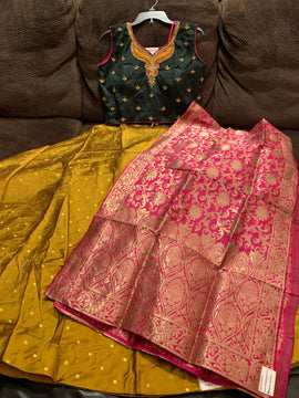 Silk Lehanga with embroidery and stones , jardosi and kundan work blouse