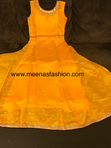 Mango-yellow color Banaras Butti silk top with pink color Banaras Dupatta and Lycra Legging