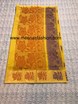 Kuppadam silk sarees- Pineapple color with Big border
