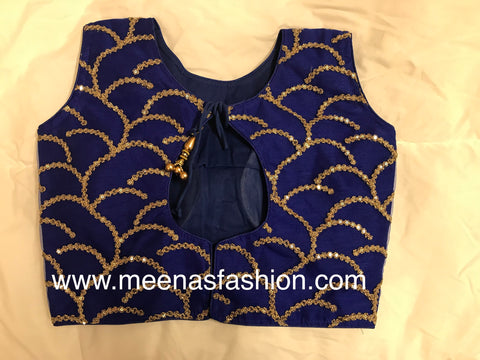 Blue color Netted Designer blouse with embroidery and beads work