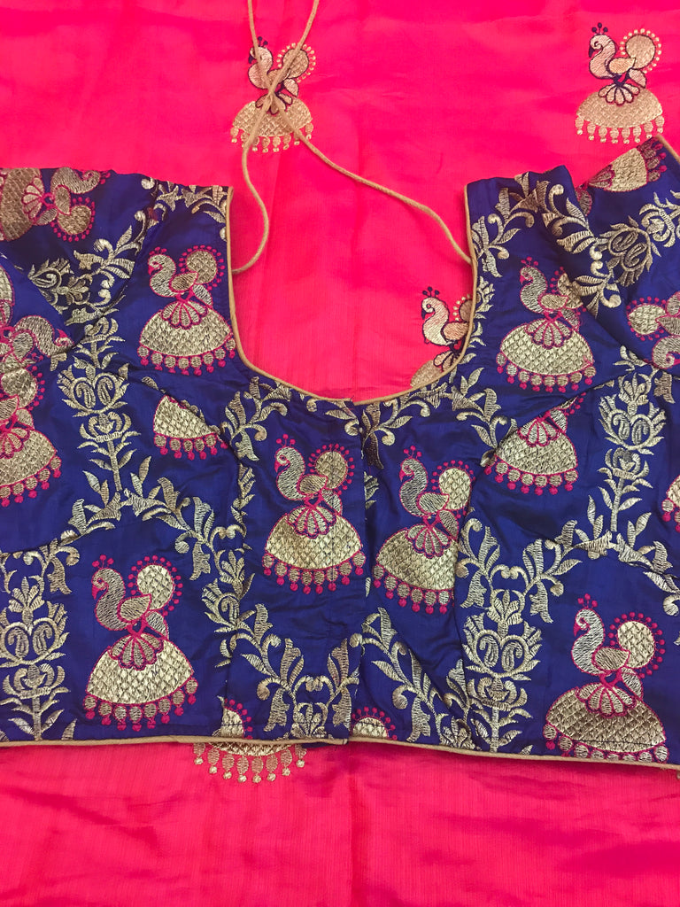 8dc3ab3d7ba50 Beautiful Pink Saree with Nice Navy Blouse Fully very think Embroidery work  beautiful peacock Earrings work