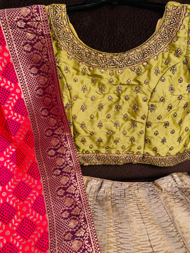 Silk Lehanga with embroidery and beads and kundan work blouse