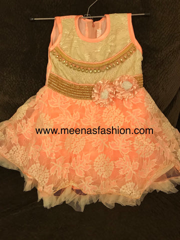 Babygirl's Frock-Cantaloupe color