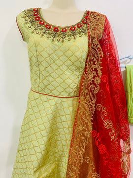 Parrot green color Banaras dress with Red and Gold color Designer Dupatta and Lycra Legging