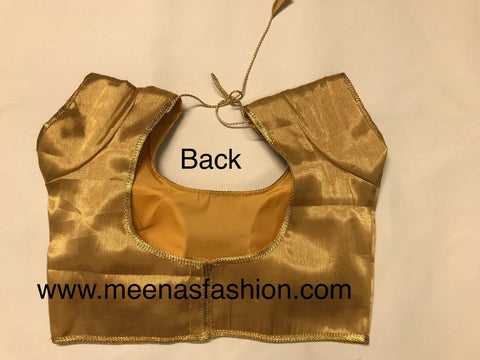 Gold color Silk plain blouse with boarder