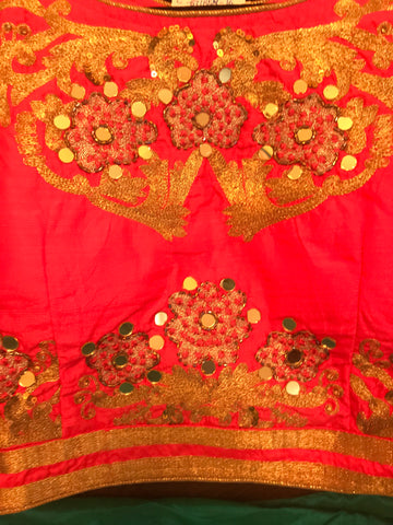 Silk Lehanga with embroidery and beads work