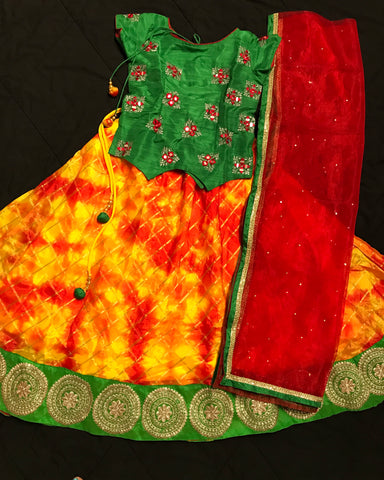 Designer Girl's Lehenga Choli Dress- Banaras Top and  Banaras bottom