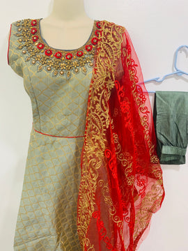 Grey color Banaras dress with Red and Gold color Designer Dupatta and Lycra Legging