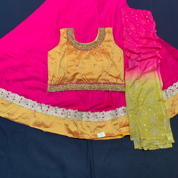 Silk Lehanga with stone jardosi hand made work blouse