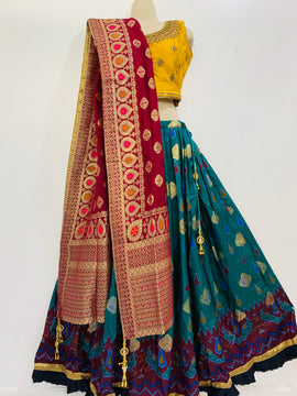 Ikkat Silk Lehanga with beautiful Banaras Dupatta and blouse with embroidery and jardosi work