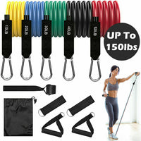 11 PCS Resistance Bands Set Home Gym Exercise Tube Bands Training - Total Resistance 150 Lbs