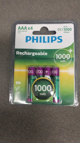 Philips 4AAA Ni-MA Rechargeable Batteries