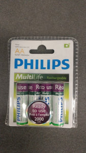 Philips 4AA Ni-MA Rechargeable Batteries