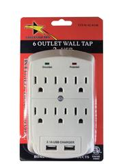 TS-12 USB WIS:Power Tap Wall  6Outlet W/2USB