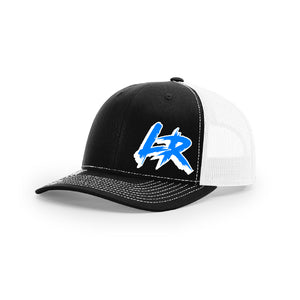 "Embroidered ""LR"" Logo on Black & White Trucker Hat"