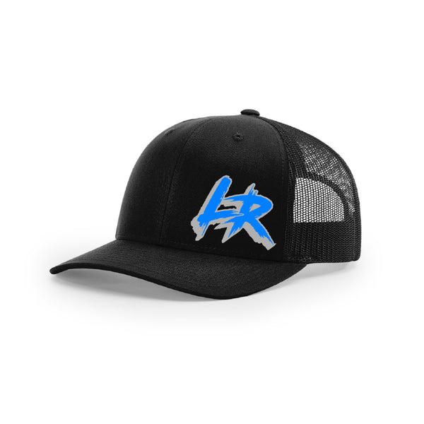 "Embroidered ""LR"" Logo on Black Trucker Hat"