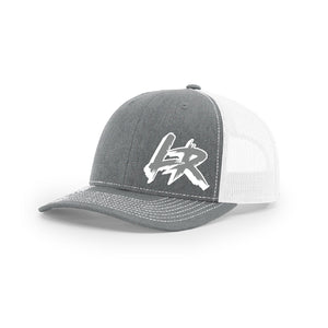 "Embroidered ""LR"" Logo on Gray & White Trucker Hat"