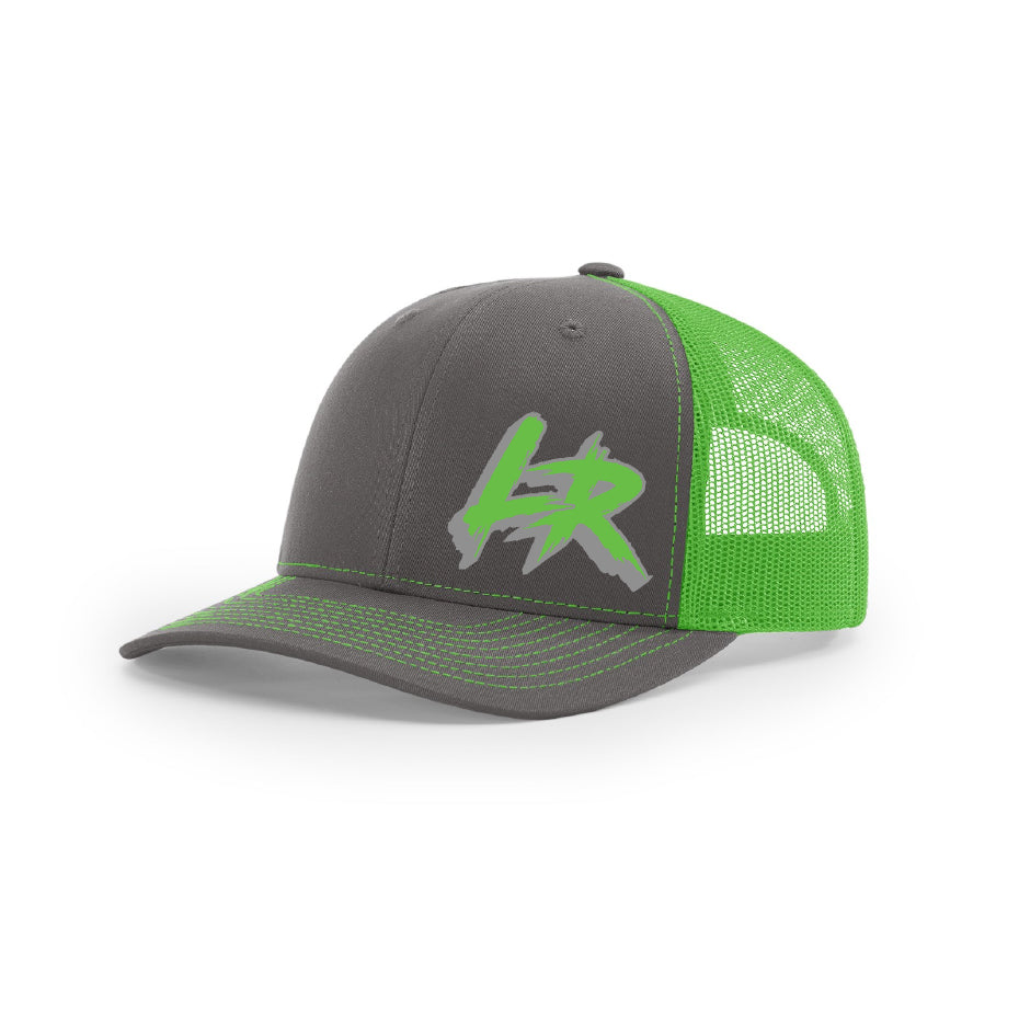 "Embroidered ""LR"" Logo on Green & Gray Trucker Hat"