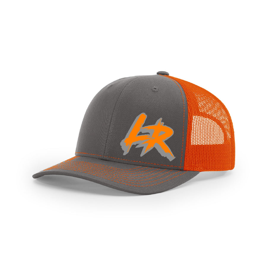 "Embroidered ""LR"" Logo on Orange & Gray Trucker Hat"