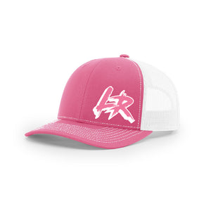 "Embroidered ""LR"" Logo on Pink & White Trucker Hat"