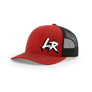 "Embroidered ""LR"" Logo on Red & Black Trucker Hat"