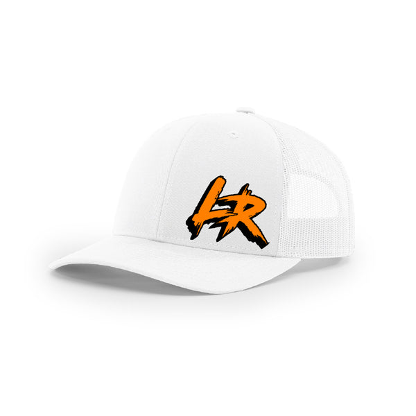 "Embroidered ""LR"" Logo on White Trucker Hat"
