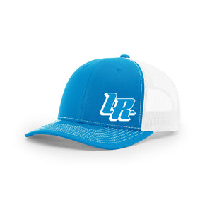 "Embroidered ""LR"" Bold Logo on Blue & White Trucker Hat"