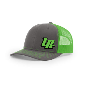 "Embroidered ""LR"" Bold Logo on Green & Gray Trucker Hat"