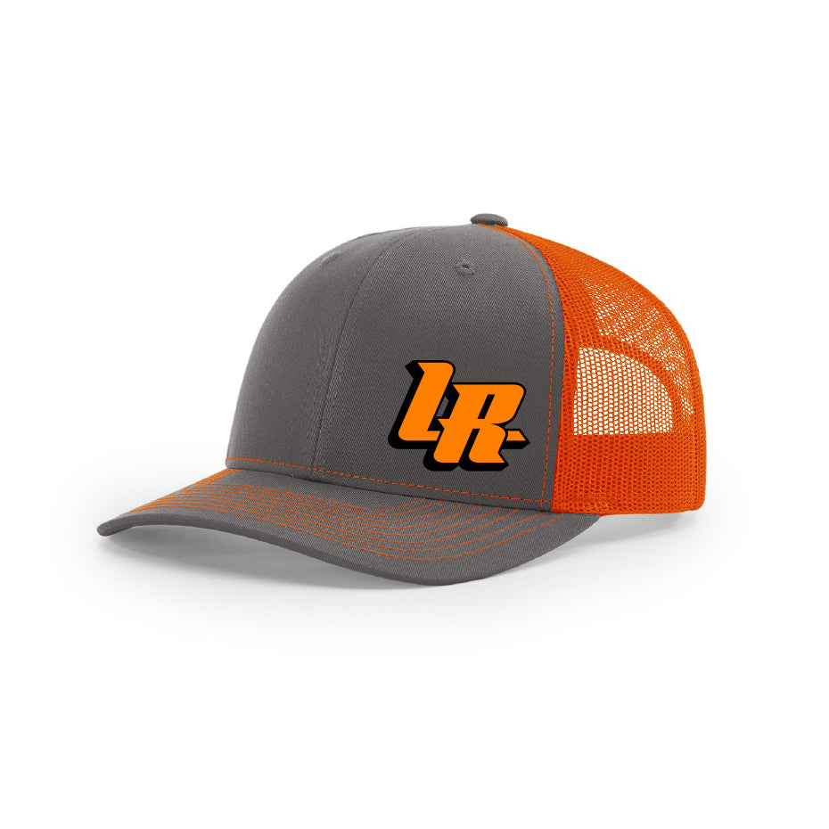 "Embroidered ""LR"" Bold Logo on Orange & Gray Trucker Hat"