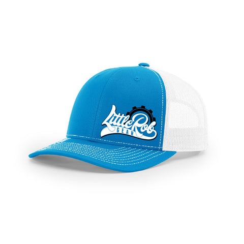 "Embroidered ""Little Rob Gear"" Logo on Blue & White Trucker Hat"