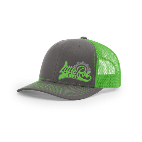 "Embroidered ""Little Rob Gear"" Logo on Green & Gray Hat"