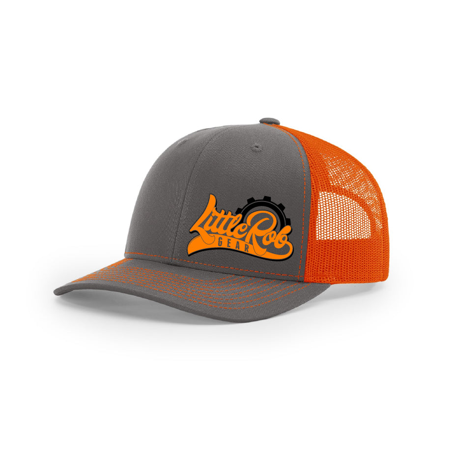 "Embroidered ""Little Rob Gear"" Logo on Orange & Gray Trucker Hat"