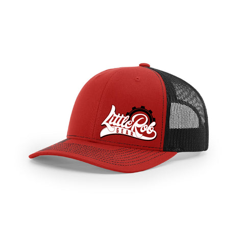 "Embroidered ""Little Rob Gear"" Logo on Red & Black Trucker Hat"