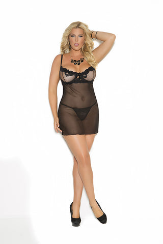 Mesh Babydoll With Embroidered Detail