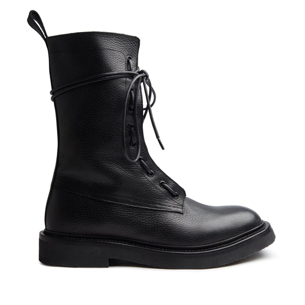 Lorenzo Combat Boot - Black Grained Leather