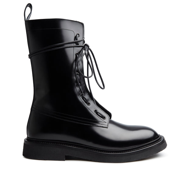 Lorenzo Combat Boot - Black Hi-Shine Leather