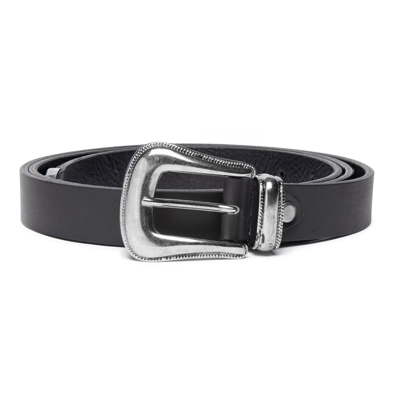Western Belt - Black Leather