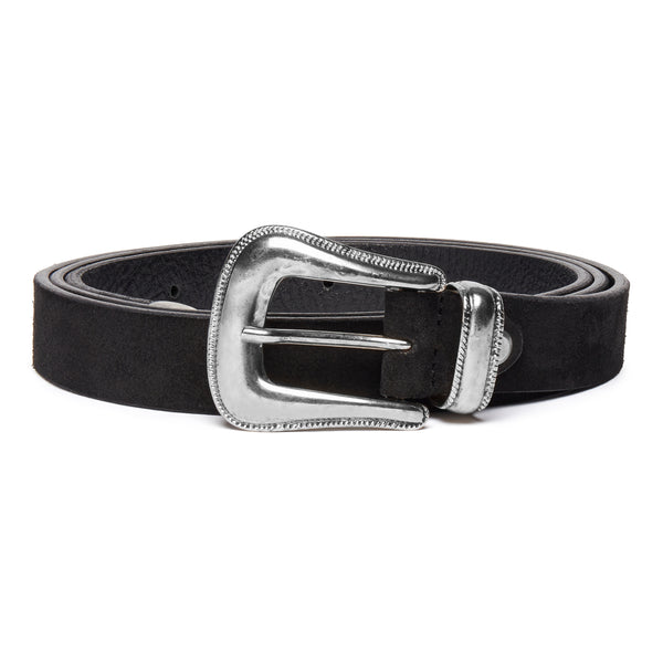 Western Belt - Black Suede