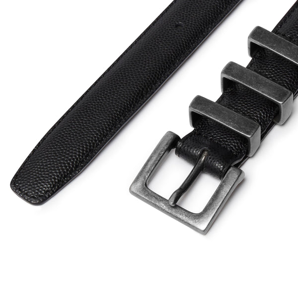 Three Passant Belt - Silver/Black Seed Grain Leather